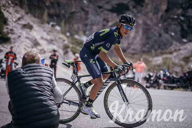 Nairo Quintana (COL/Movistar) up the Passo Gardena / Grödnerjoch (2221m)<br /> <br /> Stage 18: Moena › Ortisei/St. Urlich (137km)<br /> 100th Giro d'Italia 2017