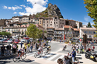 peloton passing through the town of Serres<br /> <br /> Stage 4 from Sisteron to Orcières-Merlette (161km)<br /> <br /> 107th Tour de France 2020 (2.UWT)<br /> (the 'postponed edition' held in september)<br /> <br /> ©kramon