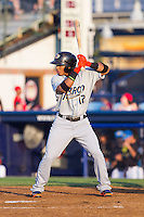 Francisco Lindor (12) of the Akron Rubber Ducks at bat against the Reading Fightin Phils at FirstEnergy Stadium on June 19, 2014 in Wappingers Falls, New York.  The Rubber Ducks defeated the Fightin Phils 3-2.  (Brian Westerholt/Four Seam Images)