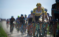 Sep Vanmarcke (BEL/LottoNL-Jumbo) on sector 26: Viesly à Quiévy (1.8km)<br /> <br /> 113th Paris-Roubaix 2015