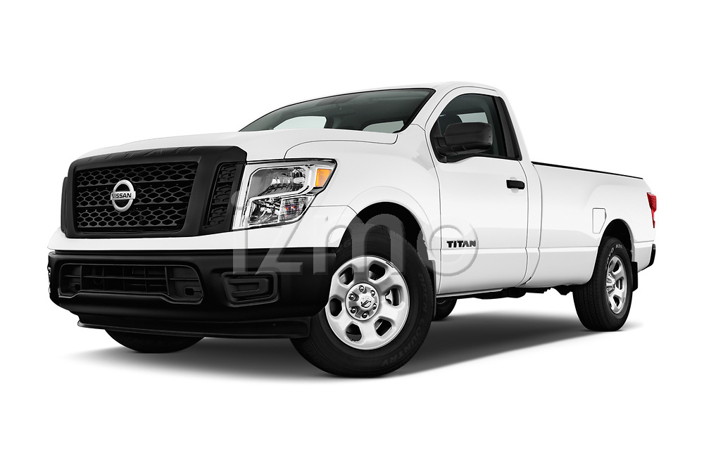 Stock pictures of low aggressive front three quarter view of 2017 Nissan Titan S-Single 2 Door Pick-up Low Aggressive