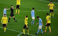 14th April 2021; Induna Park, Dortmund, Germany; UEFA Champions League Football quarter-final, Borussia Dortmund versus Manchester City;  Referee Carldel Cerro Grande signals for a penalty kick to Man City after a VAR review