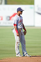 Hagerstown Suns shortstop Wilmer Difo (6) on defense against the Kannapolis Intimidators at CMC-Northeast Stadium on May 31, 2014 in Kannapolis, North Carolina.  The Intimidators defeated the Suns 3-2 in game one of a double-header.  (Brian Westerholt/Four Seam Images)