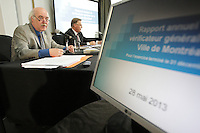 May 28,2013 File Photo -   Laurent Blanchard , Interim Mayor, Montreal (L) comment on Jacques Bergeron, general auditor, Montreal City  report for the year 2012