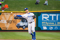 Whit Merrifield (3) of the Omaha Storm Chasers during the game against the Memphis Redbirds in Pacific Coast League action at Werner Park on April 24, 2015 in Papillion, Nebraska.  (Stephen Smith/Four Seam Images)