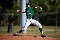Dartmouth Big Green starting pitcher Jack Fossand (30) delivers a pitch during a game against the Northeastern Huskies on March 3, 2018 at North Charlotte Regional Park in Port Charlotte, Florida.  Northeastern defeated Dartmouth 10-8.  (Mike Janes/Four Seam Images)