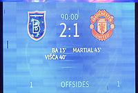 4th November 2020, Basaksehir Fatih Stadium, Istanbul, Turkey; UEFA Champions League football,  Basaksehir versus manchester United;   Scoreboard during the UEFA Champions league Group H match