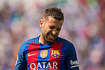 Jordi Alba of FC Barcelona reacts during their La Liga match between Deportivo Leganes and FC Barcelona at the Butarque Municipal Stadium on 17 September 2016 in Madrid, Spain. Photo by Diego Gonzalez Souto / Power Sport Images