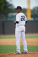 New York Yankees pitcher Albert Abreu (22) gets ready to deliver a pitch during an Instructional League game against the Pittsburgh Pirates on September 29, 2017 at the Yankees Minor League Complex in Tampa, Florida.  (Mike Janes/Four Seam Images)