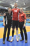 November 18 2011 - Guadalajara, Mexico:   CEO Henry Storgaard and President David Legg with Greg Stewart from the Men's Sitting Volleyball Team after winning the Bronze Medal at the 2011 Parapan American Games.  Photos: Matthew Murnaghan/Canadian Paralympic Committee