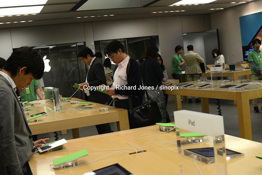 Apple's Japanese flag-ship store,  Ginza, Tokyo, Japan.<br /> April-2014