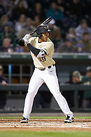 Christian Long (19) of the Wake Forest Demon Deacons at bat against the Charlotte 49ers at BB&T BallPark on March 13, 2018 in Charlotte, North Carolina.  The 49ers defeated the Demon Deacons 13-1.  (Brian Westerholt/Four Seam Images)
