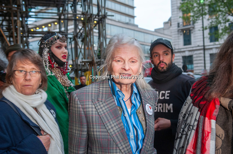 Fashion designer and activist Vivienne Westwood at the  Extinction Rebellion 'Carn-evil of Chaos' Fashion Parade at the Brazillian Embassy to show solidarity with the people of Brazil and their eco system. Pic by Lisa Dawson Rees