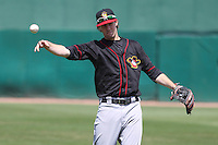 Quad Cities River Bandits shortstop Thomas Lindauer (1) warms up prior to a game against the Wisconsin Timber Rattlers on May 2nd, 2015 at Fox Cities Stadium in Appleton, Wisconsin.  Quad Cities defeated Wisconsin 5-2.  (Brad Krause/Four Seam Images)