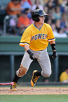 Catcher Reese McGuire (24) of the West Virginia Power bats in a game against the Greenville Drive on Sunday, May 11, 2014, at Fluor Field at the West End in Greenville, South Carolina. McGuire is the No. 8 prospect of the Pittsburgh Pirates, according to Baseball America. Greenville won, 9-6. (Tom Priddy/Four Seam Images)