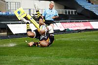 Photo: Richard Lane/Richard Lane Photography. London Welsh v Wasps. Aviva Premiership. 12/04/2015. Wasps' Tom Varndell goes in for an early try.