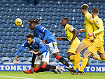 25.10.2020 Rangers v Livingston: Connor Goldson and Calvin Bassey collide in the box