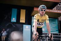 yellow jersey / GC leader Geraint Thomas (GBR/SKY) at sign-on<br /> <br /> Stage 6: Frontenex > La Rosière Espace San Bernardo (110km)<br /> 70th Critérium du Dauphiné 2018 (2.UWT)
