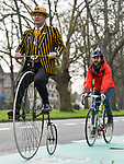 Pictured: Stuart Mason-Elliott, also known as Mr Samuel Pickwick as President of the oldest cycling club in the world The Pickwick Bicycle Club, rides his original 1872 Coventry Machinist Company penny farthing wearing the traditional club uniform on the cycle lane at The Avenue in Southampton, Hants.<br /> <br /> Stuart rides a 22 kilogram, iron frame penny farthing which is believed to be one of the first bicycles ever made. The wheel diameter is 48 inches, with each bicycle being specially tailored to the leg length of the rider.<br /> <br /> Stuart was elected president of The Pickwick Bicycle Club, formed in 1870for the second consecutive year, due to Covid-19 restrictions on club activities. Members wear the traditional club uniform of a yellow and black striped blazer, waistcoat with a straw boater hat and are also assigned a sobriquet of a character from The Pickwick Papers, which they represent.<br /> <br /> © Jordan Pettitt/Solent News & Photo Agency<br /> UK +44 (0) 2380 458800