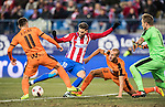 Yannick Ferreira Carrasco (c) of Atletico de Madrid competes for the ball with Ruben Pena Jimenez (l) and Alejandro Galvez Jimena of SD Eibar during their Copa del Rey 2016-17 Quarter-final match between Atletico de Madrid and SD Eibar at the Vicente Calderón Stadium on 19 January 2017 in Madrid, Spain. Photo by Diego Gonzalez Souto / Power Sport Images