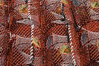 Wells Next The Sea, Norfolk, England, 03/08/2009..Lobster pots in Wells harbour.
