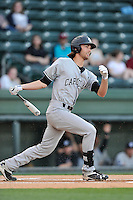 Right fielder Gene Cone (19) of the South Carolina Gamecocks bats in a game against the USC Upstate Spartans on Tuesday, March 15, 2016, at Fluor Field at the West End in Greenville, South Carolina. (Tom Priddy/Four Seam Images)
