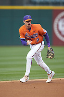 Clemson Tigers shortstop Logan Davidson (8) on defense against the Charlotte 49ers at BB&T BallPark on March 26, 2019 in Charlotte, North Carolina. The Tigers defeated the 49ers 8-5. (Brian Westerholt/Four Seam Images)