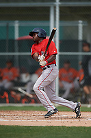 Boston Red Sox Xavier LeGrant (46) bats during a Minor League Spring Training game against the Baltimore Orioles on March 20, 2019 at the Buck O'Neil Baseball Complex in Sarasota, Florida.  (Mike Janes/Four Seam Images)