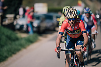 Vincenzo Nibali (ITA/Bahrain-Merida) leading the race in the last local lap<br /> <br /> 82nd Flèche Wallonne 2018 (1.UWT)<br /> 1 Day Race: Seraing - Huy (198km)