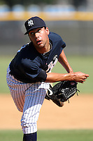 New York Yankees minor league pitcher Gabe Encinas (43) vs. the Pittsburgh Pirates in an Instructional League game at the New York Yankees Minor League Complex in Tampa, Florida;  October 8, 2010.  Photo By Mike Janes/Four Seam Images