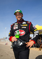Apr 11, 2015; Las Vegas, NV, USA; NHRA top fuel driver J. R. Todd reacts during qualifying for the Summitracing.com Nationals at The Strip at Las Vegas Motor Speedway. Mandatory Credit: Mark J. Rebilas-