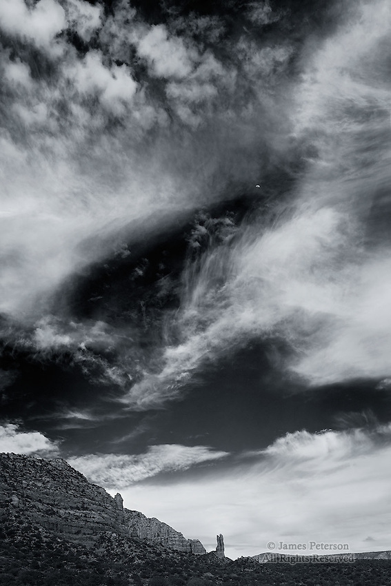 Half Moon over The Rabbit Ears, near Sedona, Arizona