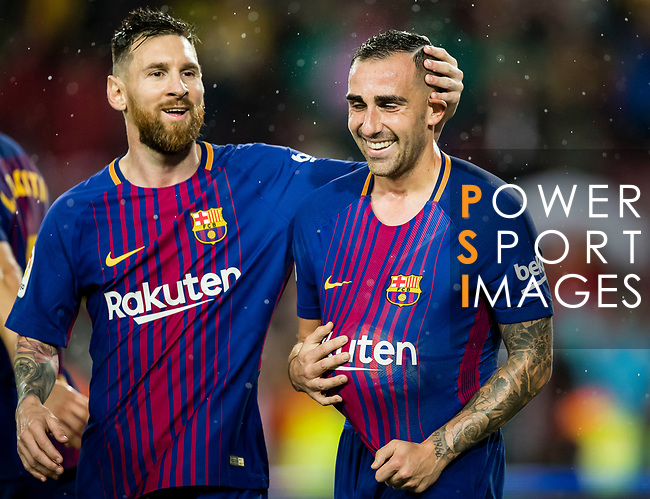 Francisco Alcacer Garcia, Paco Alcacer, of FC Barcelona (R) celebrates after scoring his goal with Lionel Andres Messi of FC Barcelona (L) during the La Liga 2017-18 match between FC Barcelona and Sevilla FC at Camp Nou on November 04 2017 in Barcelona, Spain. Photo by Vicens Gimenez / Power Sport Images