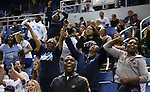 A group of Canyon Springs fans celebrate at the end of a Division I semi-final game in the NIAA basketball state tournament at Lawlor Events Center, in Reno, Nev., on Thursday, Feb. 27, 2014. Canyon Springs defeated Spanish Springs 66-51. (Cathleen Allison/Las Vegas Review-Journal)