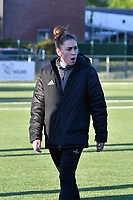 Head coach Audrey Demoustier of Woluwe pictured before  a female soccer game between  Racing Genk Ladies and White Star Woluwe on the 8 th matchday of play off 2 in the 2020 - 2021 season of Belgian Scooore Womens Super League , tuesday 18 th of May 2021  in Genk , Belgium . PHOTO SPORTPIX.BE | SPP | JILL DELSAUX