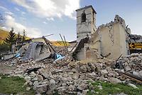 - Marche, la chiesa dei Santi Andrea e Bartolomeo a Visso, distrutta dopo il terremoto dell'ottobre/novembre 2016<br /> <br /> - Marche region, the Church of Saints Andrew and Bartholomew in Visso, destroyed after the earthquake of October / November 2016