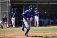 Texas Rangers outfielder Leody Taveras (37) starts down the first base line during an Instructional League game against the San Diego Padres on September 20, 2017 at Peoria Sports Complex in Peoria, Arizona. (Zachary Lucy/Four Seam Images)