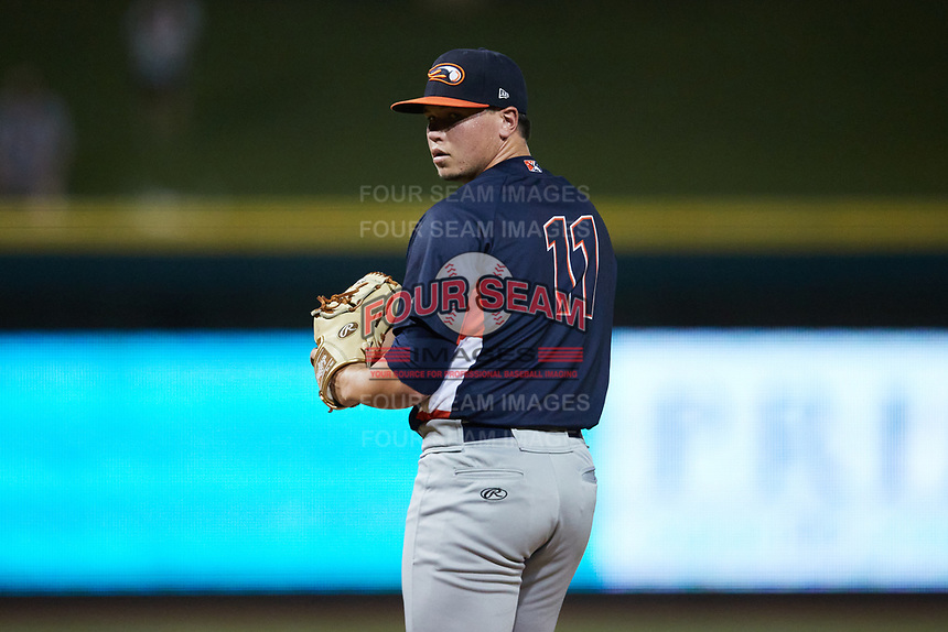 Bowling Green Hot Rods relief pitcher Zack Trageton (11) looks to his catcher for the sign against the Winston-Salem Dash at Truist Stadium on September 7, 2021 in Winston-Salem, North Carolina. (Brian Westerholt/Four Seam Images)
