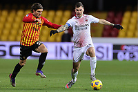 Perparim Hetemaj of Benevento Calcio and Alessio Romagnoli of AC Milan compete for the ball during the Serie A football match between Benevento Calcio and AC Milan at stadio Ciro Vigorito in Benevento (Italy), January 03rd, 2021. <br /> Photo Cesare Purini / Insidefoto