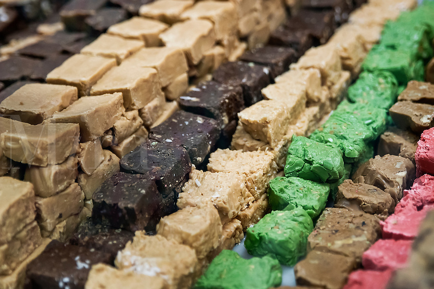 Selection of fudge in a shop.