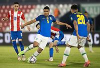 8th June 2021; Defensores del Chaco Stadium, Asuncion, Paraguay; World Cup football 2022 qualifiers; Paraguay versus Brazil;   Miguel Almirón and Mathías Villasanti of Paraguay challenge Casemiro of Brazil