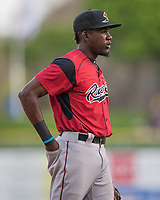 Orlando Calixte (2) of the Sacramento River Cats on defense against the Salt Lake Bees in Pacific Coast League action at Smith's Ballpark on April 13, 2017 in Salt Lake City, Utah. Salt Lake defeated Sacramento 4-3.  (Stephen Smith/Four Seam Images)