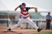 Quad Cities River Bandits relief pitcher Brendan Feldmann (27) delivers a pitch during a game against the West Michigan Whitecaps on July 23, 2018 at Modern Woodmen Park in Davenport, Iowa.  Quad Cities defeated West Michigan 7-4.  (Mike Janes/Four Seam Images)