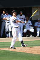 Chester Pak (8) of the Cal State Northridge Matadors bats during a game against the UC Santa Barbara Gouchos at Matador Field on April 10, 2015 in Northridge, California. UC Santa Barbara defeated Cal State Northridge, 7-4. (Larry Goren/Four Seam Images)
