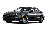 Stock pictures of low aggressive front three quarter view of 2020 Hyundai Sonata Limited 4 Door Sedan Low Aggressive