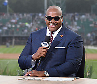 DYERSVILLE, IOWA - AUGUST 12: Fox MLB Pregame broadcaster Frank Thomas at the Fox broadcast of the MLB Field of Dreams game on August 12, 2021 in Dyersville, Iowa. (Photo by Frank Micelotta/Fox Sports/PictureGroup)