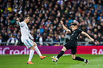 Yuri Berchiche (R) of Paris Saint Germain fights for the ball with Cristiano Ronaldo of Real Madrid during the UEFA Champions League 2017-18 Round of 16 (1st leg) match between Real Madrid vs Paris Saint Germain at Estadio Santiago Bernabeu on February 14 2018 in Madrid, Spain. Photo by Diego Souto / Power Sport Images