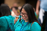 """Sara Nguyen shares a laugh with fellow members at lunch during """"Circle the City with Service,"""" the Kiwanis Circle K International's 2015 Large Scale Service Project, on Wednesday, June 24, 2015, in Indianapolis. (Photo by James Brosher)"""