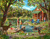 Liz,LANDSCAPES, LANDSCHAFTEN,country,house by the lake,children, PAISAJES, LizDillon, paintings+++++,USHCLD0312,#L#, EVERYDAY ,puzzle,puzzles