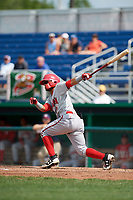 Auburn Doubledays shortstop Jose Sanchez (9) follows through on a swing during a game against the Batavia Muckdogs on September 1, 2018 at Dwyer Stadium in Batavia, New York.  Auburn defeated Batavia 10-5.  (Mike Janes/Four Seam Images)